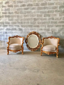 Baroque Bergere Beige Chair Throne Chair *2 Available + Matching Sofa* Creme Suede Furniture Throne Sofa Throne Chair Refinish French Chair