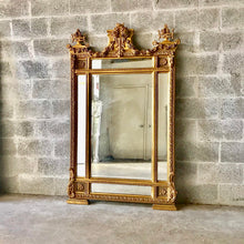 "Load image into Gallery viewer, French Floor Mirror 67""H x 42.5""W Gold Heavy Throne Mirror Carved Great Condition Louis XVI Mirror Rococo Furniture Mirror Baroque"