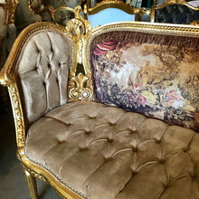 Load image into Gallery viewer, French Sofa French Settee Corbeille French Furniture French Settee Tufted Settee Gold Frame Tufted Sofa French Furniture Interior Design