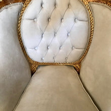 Load image into Gallery viewer, French Chair *1 Available French Furniture Chair Antique Furniture French Tufted Chair Refinish Gold Leaf Beige Cream Fabric Interior Design