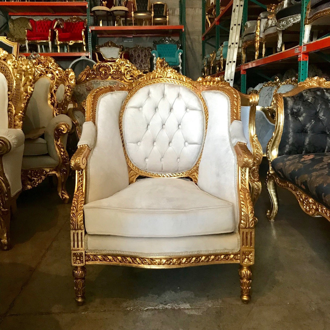 French Chair *1 Available French Furniture Chair Antique Furniture French Tufted Chair Refinish Gold Leaf Beige Cream Fabric Interior Design