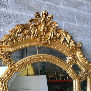 "French Mirror Gold Antique Curved Mirror French Furniture 86.5""H x 46""W Louis XVI Mirror Rococo Baroque Furniture Gold Antique Mirror"