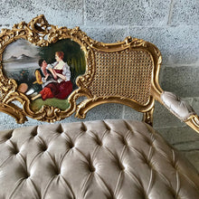 Load image into Gallery viewer, French Chair French Tufted Chair Louis XVI Furniture French Settee Gold Frame Tufted Sofa French Marquise Settee Interior Design
