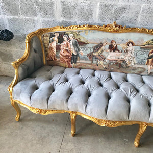 Baroque Throne Sofa Baroque Chair Marquise Furniture Rococo Velvet Tufted Gold Frame Interior Design