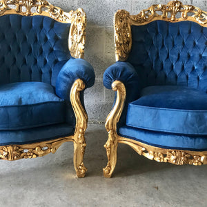 Baroque Chairs Baroque Furniture Chairs Furniture Rococo Tufted Chair Refinish Gold Leaf Tufted Blue Velvet Fabric Interior Design