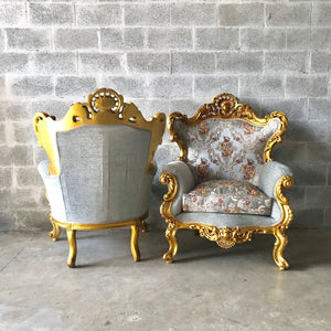 Baroque Throne Sofa French Furniture *3 Piece Set Avail* French Chairs Louis XVI Furniture Rococo Velvet Tufted Gold Frame Interior Design