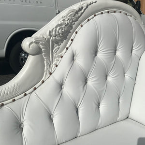 French Chaise Lounge French Furniture Tufted White Leather Settee Baroque Furniture Rococo White Velvet Tufted Sofa Interior Design