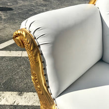Load image into Gallery viewer, French Chaise Lounge French Furniture Gold with Tufted White Leather Baroque Furniture Rococo White Velvet Tufted Sofa Interior Design