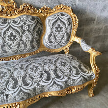 Load image into Gallery viewer, Rococo Throne Sofa French Furniture 3 Piece Availabl French Chairs Louis XVI Furniture Rococo Chair Gold Frame Interior Design Baroque Chair