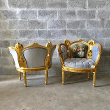 Load image into Gallery viewer, French Chairs French Tufted Chair Corbeille French Furniture Vintage Chair Gold Frame Baroque Furniture Rococo Chair Antique Furniture
