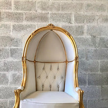 Load image into Gallery viewer, French Balloon Chair Throne Chair *2 Avail Children Size Canopy Chair High-Back Gold Chair Tufted White Leather Interior Design