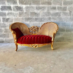 French Marquis Vintage Red Sofa Antique Furniture Style French Tufted Chair Refinish Gold Leaf New Padding tufted Fabric Interior Design