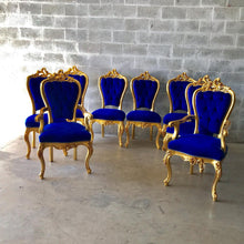 Load image into Gallery viewer, French Dining Chair *Set of 8* Antique Chair French Furniture Italian Baroque French Furniture Blue Velvet French Chair Interior Design