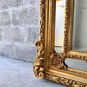 "French Mirror Gold Antique Floor Mirror Carved French Furniture 82""H x 43.5""W Louis XVI Mirror Rococo Baroque Furniture Gold Antique Mirror"
