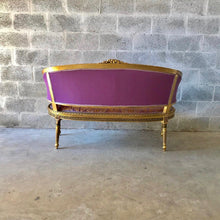 Load image into Gallery viewer, French Settee French Sofa Louis XVI Style Purple Settee Furniture Gold Frame Rococo Furniture Baroque Settee Interior Design Tufted Settee