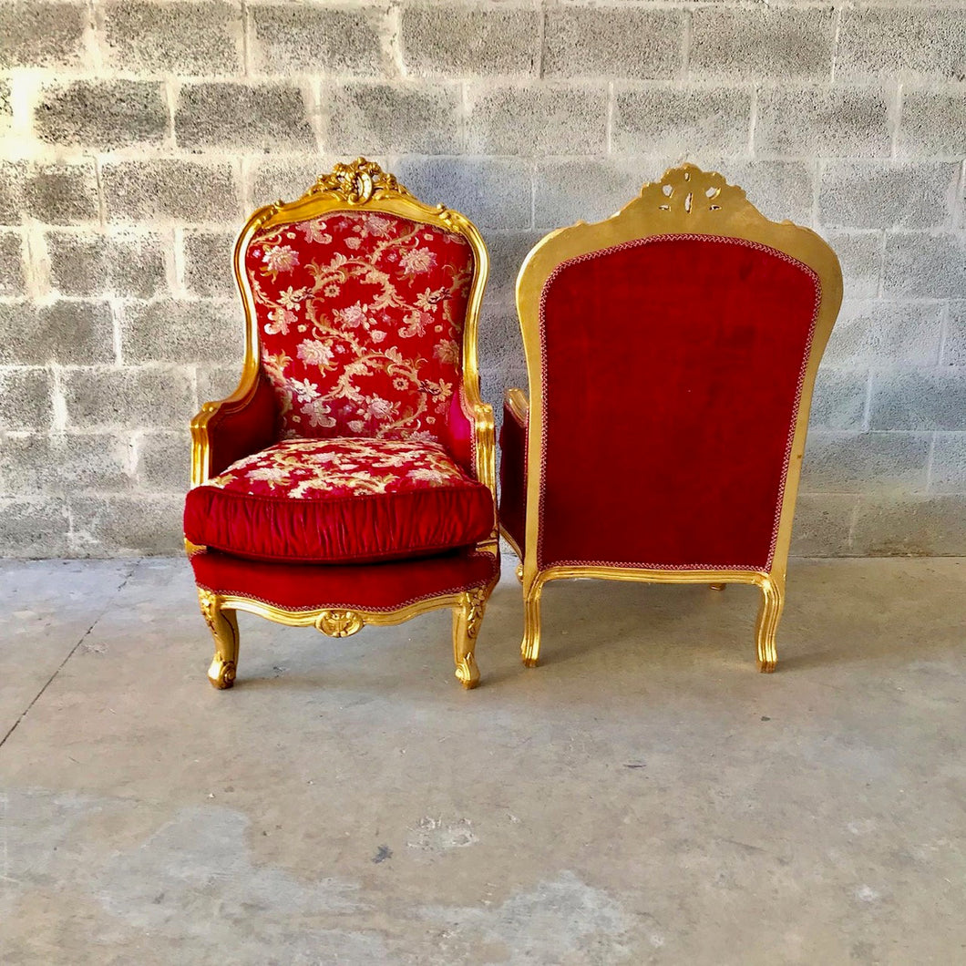 French Chair French Settee *5 Piece Available* French Sofa French Furniture Baroque Settee Tufted Chair Gold Leaf Baroque Furniture Rococo