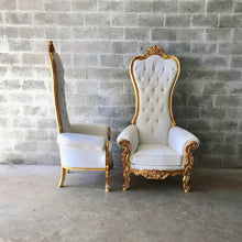 Load image into Gallery viewer, White Throne Chair White Leather *2 Available* Chair French Chair Throne Chair Tufted Gold Throne Chair Rococo Interior Design