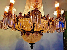 "Load image into Gallery viewer, French Chandelier Vintage Chandelier French LARGE French Crystal Chandelier 44""H x 28""W Interior Design"