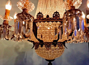 "French Chandelier Vintage Chandelier French LARGE French Crystal Chandelier 44""H x 28""W Interior Design"