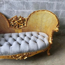 Load image into Gallery viewer, French Marquis Antique Furniture Marquise French Tufted Chair Refinish Gold Leaf New Padding tufted Fabric Interior Design