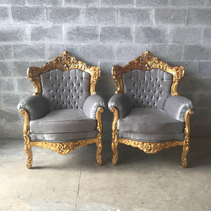 Rococo Throne Chair Antique Furniture Silver Gray Velvet Tufted Chair *3 Piece Set Avail* Gold Leaf French Chair Louis XVI French Furniture