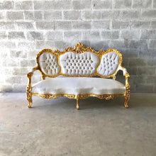 Load image into Gallery viewer, French Sofa Louis XVI Furniture Rococo Chair Antique Settee White Velvet Tufted Chair *5 Piece Set Available* Gold Baroque Chair Gold Leaf