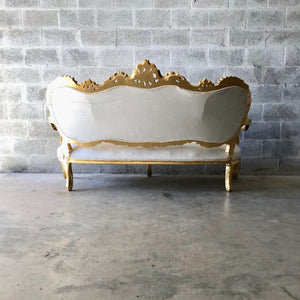 French Sofa Louis XVI Furniture Rococo Chair Antique Settee White Velvet Tufted Chair *5 Piece Set Available* Gold Baroque Chair Gold Leaf