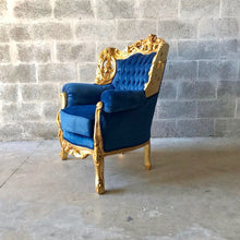Load image into Gallery viewer, Baroque Chairs Baroque Furniture Baroque Settee 3 Piece Set Furniture Rococo Tufted Chair Tufted Sofa Cobalt Velvet Fabric Interior Design