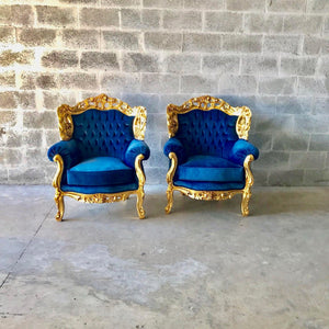 Baroque Chairs Baroque Furniture Baroque Settee 3 Piece Avail Furniture Rococo Tufted Chair Tufted Sofa Cobalt Velvet Fabric Interior Design