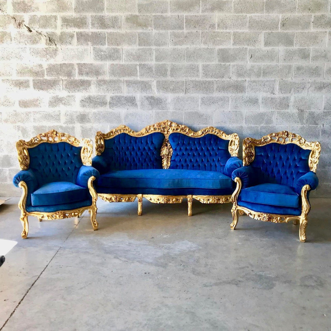 Baroque Chairs Baroque Furniture Baroque Settee 3 Piece Set Furniture Rococo Tufted Chair Tufted Sofa Cobalt Velvet Fabric Interior Design
