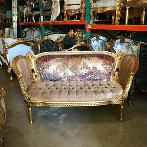 French Sofa French Settee Corbeille French Furniture French Settee Tufted Settee Gold Frame Tufted Sofa French Furniture Interior Design