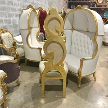 Load image into Gallery viewer, Italian Baroque Throne Chair High Back Reproduction Beige New Upholstery French Furniture French Chair Rococo Furniture Interior Design