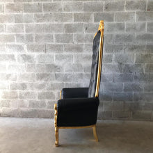 Load image into Gallery viewer, Black Throne Chair Black Leather Chair *2 Available* French Chair Throne Black Leather Chair Tufted Gold Throne Chair Rococo Interior Design