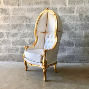French Balloon Chair Throne Chair *2 Avail Children Size Canopy Chair High-Back Gold Chair Tufted White Leather Interior Design