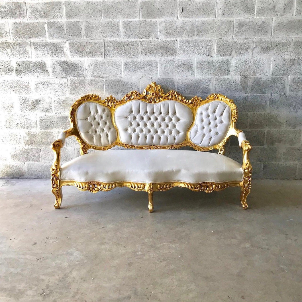 French Sofa Louis XVI Furniture Rococo Chair Antique Settee White Ivory Velvet Tufted Chair *5 Piece Set Avail* Gold Baroque Chair Gold Leaf
