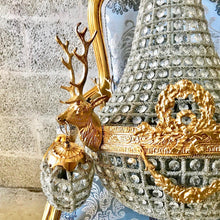"Load image into Gallery viewer, Deer Stag Chandelier LARGE French Stag Deer Head *Rush Shipping* Basket Brass Empire Bowl 30""H x 25""W Interior Design Refinish"