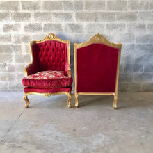 Load image into Gallery viewer, French Chair French Settee *5 Piece Available* French Sofa French Furniture Baroque Settee Tufted Chair Gold Leaf Baroque Furniture Rococo