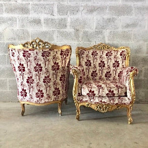 Baroque Chairs *2 Available* Vintage Chairs French Bergere Red Wine Burgundy New Uphostery Interior Design Antique Chair Furniture
