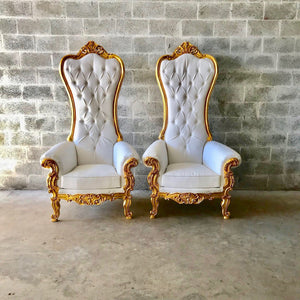 White Throne Chair White Leather *2 Available* Chair French Chair Throne Chair Tufted Gold Throne Chair Rococo Interior Design