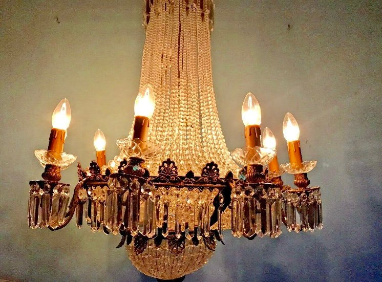 French Chandelier Vintage Chandelier French LARGE French Crystal Chandelier 44
