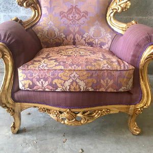 Rococo Furniture Bergere Chair Antique Italian Throne *2 Chairs Avail* Gold Leaf Purple Lavender Damask Baroque Furniture Rococo Louis XVI