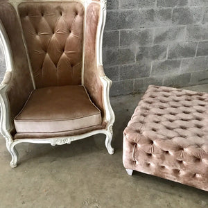 French Balloon Chair Throne Chair & Bench *1 Available* Fast Shipping Champagne Velvet Chair Tufted Gray White Frame French Interior Design