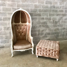 Load image into Gallery viewer, French Balloon Chair Throne Chair & Bench *1 Available* Fast Shipping Champagne Velvet Chair Tufted Gray White Frame French Interior Design