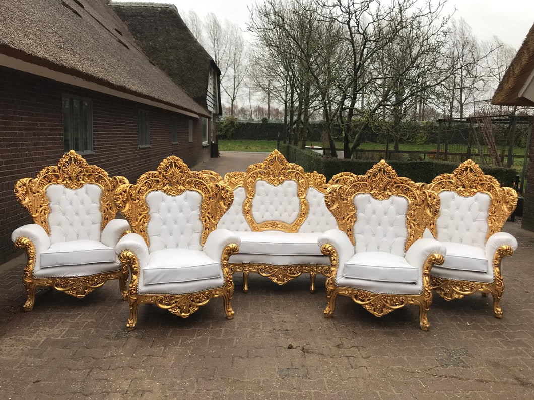 Baroque Throne Chair Rococo Sofa *5 Piece Set Tufted Chair French Tufted Sofa Baroque Chair Furniture Rococo Chair Vintage White Leather