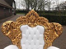 Load image into Gallery viewer, Baroque Throne Chair Rococo Sofa *5 Pieces Availa Tufted Chair French Tufted Sofa Baroque Chair Furniture Rococo Chair Vintage White Leather