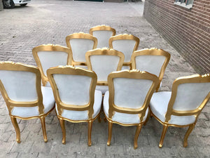 French Dining Chairs *Set of 10* Antique Chair Vintage Furniture French Italian Baroque Off-White Velvet Dining French Chair Interior Design