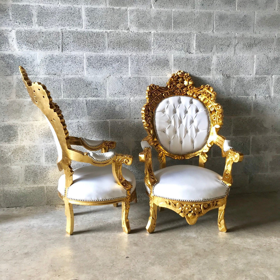Gold Tufted Chair Antique Italian Rococo Furniture Throne Chair 2 Chairs Avail Throne Chair Leather Chair Baroque French Chair Vintage Chair