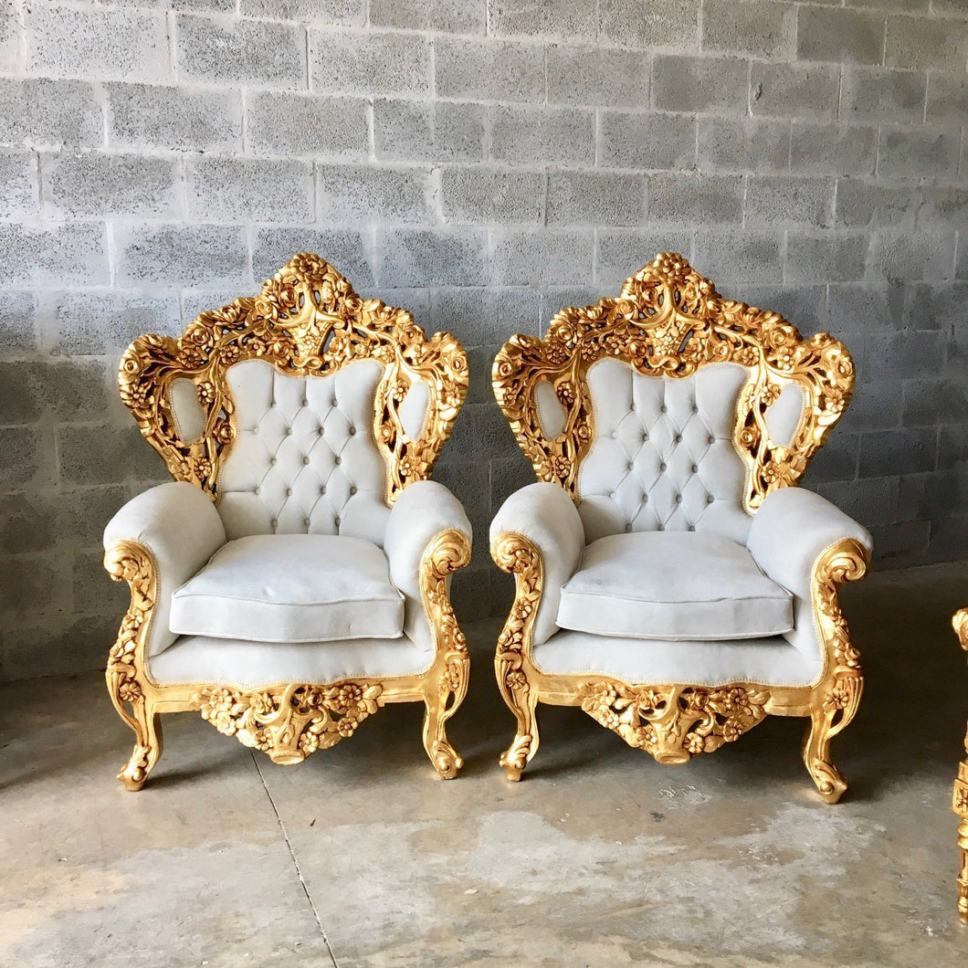 Baroque Throne Chair Rococo Tufted Chair French Tufted Chair Baroque Chair Furniture Rococo Chair Antique Off White Velvet Tufted Chair