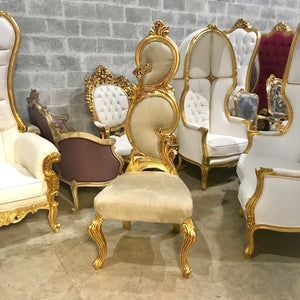 Italian Baroque Throne Chair High Back Reproduction Beige New Upholstery French Furniture French Chair Rococo Furniture Interior Design