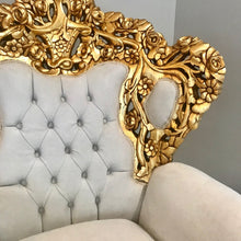 Load image into Gallery viewer, Baroque Throne Chair *2 Available* Rococo Tufted Chair French Tufted Chair Baroque Chair Furniture Rococo Chair Antique Off White Velvet